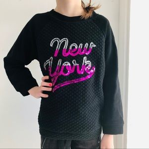 4x$25 Urbanito NEW YORK Sequin Quilted Sweatshirt
